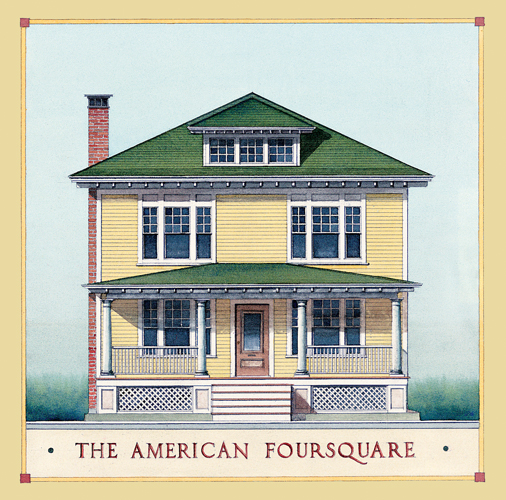 American foursquare architecture interiors old house Small foursquare house plans