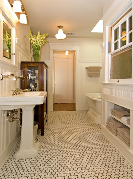 An arts crafts cottage preserved old house online for Arts and crafts style bathroom design