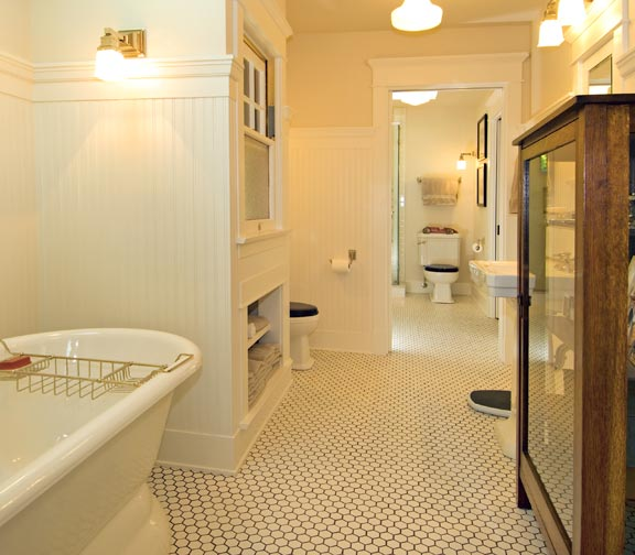 An arts crafts cottage preserved old house online for Arts and crafts bathroom design ideas