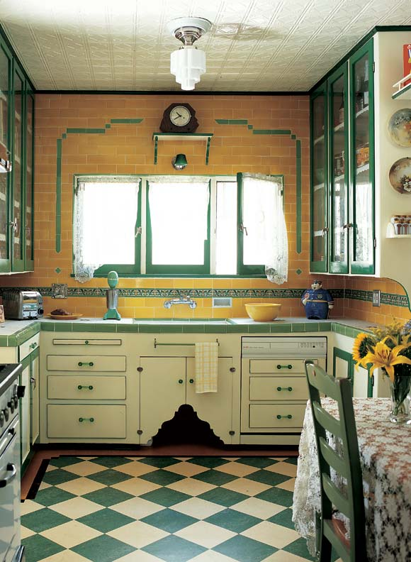 Green and cream tiles laid on the diagonal jazz up a depression era