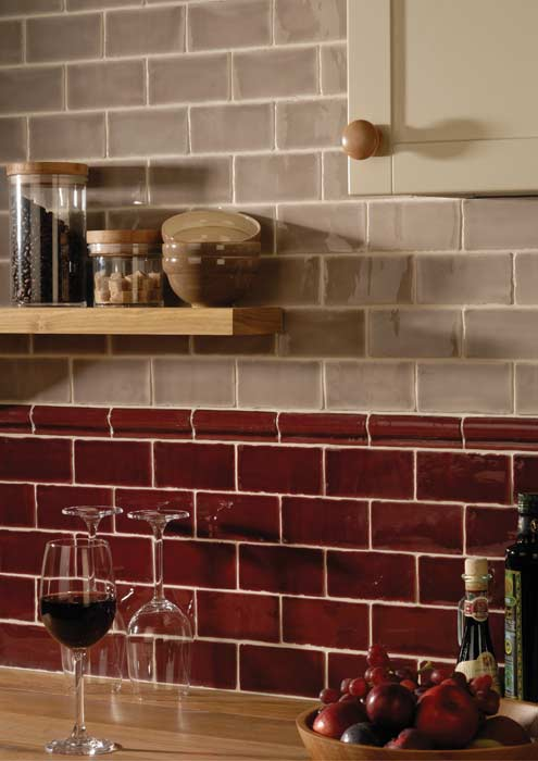 two colors of subway tile from tile source create a commercial or