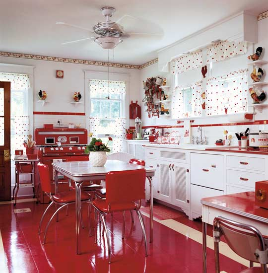 Inspiration from mid century modern kitchens old house - White kitchen red accents ...
