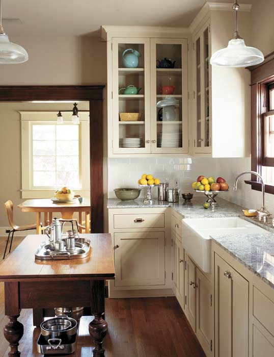 Timeless tips for remodeling a kitchen old house online for Bungalow style kitchen cabinets