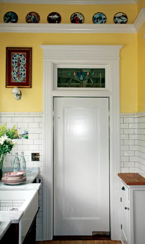 French bakery inspired kitchen old house online old for Interior swinging kitchen doors