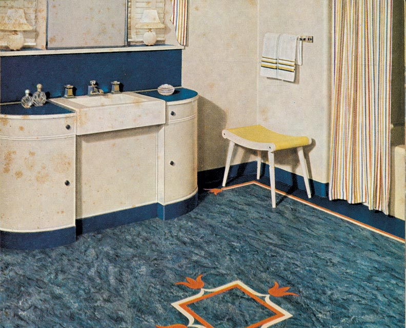 Linoleum On Bathroom Floor : How to inlay linoleum floors old house