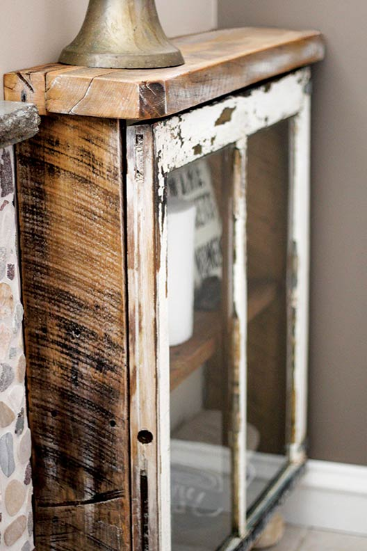 Make a cabinet out of an old window old house online for Making craft projects from old barn wood