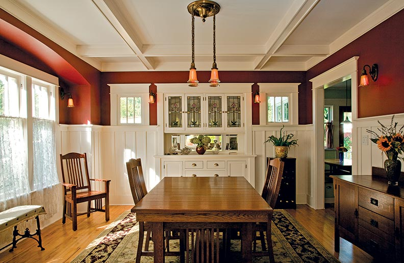 bungalow dining room   A Thoughtful Bungalow Restoration - Old-House Online - Old ...
