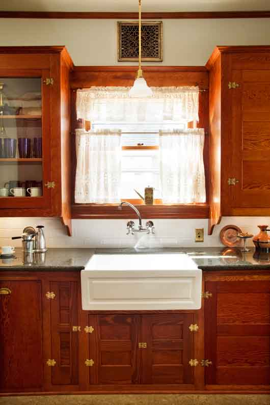 Restored Cabinets In A Renovated Craftsman Kitchen Old House Online Old House Online