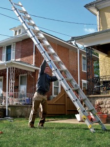 You can move a ladder into an upright position for easy carrying in three steps. Always make sure you map your path��