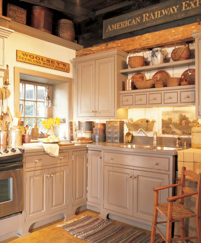 Old Country Kitchen Cabinets: 3 Ideas For Decorating With Primitives And Folk Art